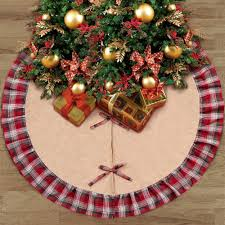OurWarm 48 Inch Buffalo Plaid Christmas Tree Skirt New Year Decorations For Home Navidad In Skirts From