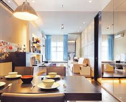 Neat Interior Arrangement Of Apartment Living Room Ideas Applied Beside Small Dining Space With Simple Table And Padded Chairs 835x677