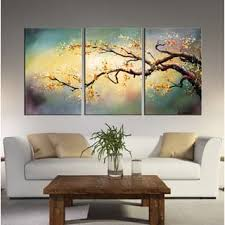 Hand Painted Yellow Plum Blossom 3 Piece Gallery Wrapped Canvas Art