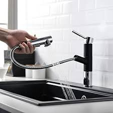 lutriva modern chrom and black wasserhahn küche einhebel küchenarmatur spültischarmatur edelstahl armatur mit brause ausziehbar drehbar 360 drehbar