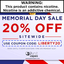 Memorial Day - Save 20% On EVERYTHING At Giant Vapes   E ... Giant Vapes On Twitter Save 20 Alloy Blends And Gvfam Hash Tags Deskgram Vape Vape Coupon Codes Ocvapors Instagram Photos Videos Vapes Coupon Code Black Friday Deals Vespa Scooters Net Memorial Day Sale Off Sitewide Fs 25 Infamous For The Month Wny Smokey Snuff Coupons Giantvapes Profile Picdeer Best Electronic Cigarette Vaping Mods Tanks