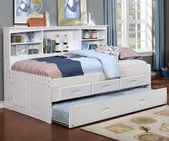 White Twin Size Bookcase Captain s Day Bed with Trundle 0222