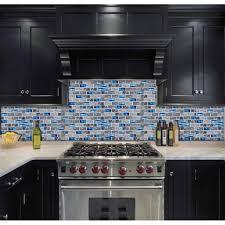 blue glass tile kitchen backsplash subway marble bathroom wall