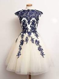 A Line Scalloped Edge Cap Sleeves White Tulle Prom Dress With Blue Appliques