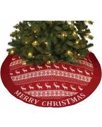 Reindeer Snowflake Ugly Sweater Look Christmas Tree Skirt 48 Inch Diameter New
