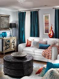 teal and orange curtains living room trend decor awesome