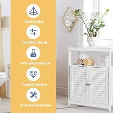 costway badezimmerschrank mit hoehenverstellbarer ablage
