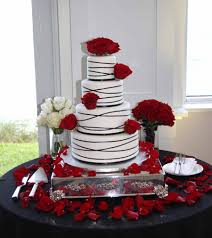 Black Ribbons And Red Roses Wedding Cake