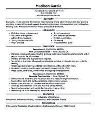 Receptionist Resume Objective Example For Design Inspiration Dental Medical