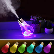 portable 7 colors change led light bulb design humidifier
