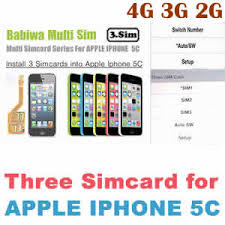 Triple Sim Adapter of Apple Iphone 5C 3 Simcard Holder for Apple