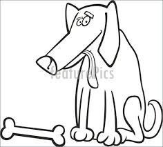 Cartoon Illustration Of Dog With Bone For Coloring Book