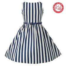 mini audrey blue stripe dress vintage style kids dresses lindy
