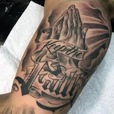 Praying Hands With Clouds Tattoo For Men On Bicep