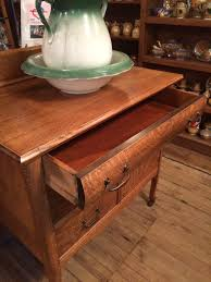 Tiger Oak Dresser Beveled Mirror by Solid Tiger Oak Washstand Circa 1900 Sold Old Nottoway Antiques