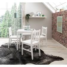 wohnling esszimmer set emil 5 teilig kiefer holz weiß landhaus stil 70 x 73 x 70 cm natur essgruppe 1 tisch 4 stühle esstischset tischgruppe 4