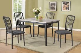 5pc Casual Dining Table Set In Gray And Faux Marble