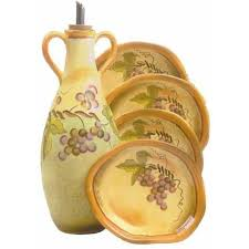 Clay Art Rustic Vines Oil Bottle With 4 Dipping Dishes 5pc Set