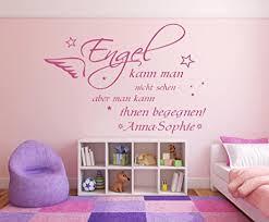 wandtattoo mit namen und sternen spruch engel kann nicht sehen fürs kinderzimmer und schlafzimmer mädchen und jungen 73024 100x58cm schwarz