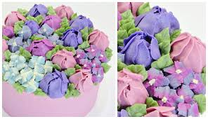 Cakes Decorated With Russian Tips by Tulip And Hydrangea Buttercream Cake Cake Style Youtube