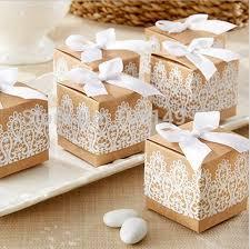 120 Pieces Lot Unique Wedding Box Of Rustic Lace Kraft Favor