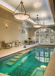 Indoor Swimming Pool Design Rounded Rectangular Shape Cool Wall Lamps Stone Floor Deck Glass Ceiling Model