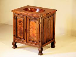 Single Sink Vanity With Makeup Table by Single Sink Wood U0026 Copper Vanity Artisan Crafted Home