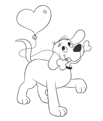 Heres Clifford With A Balloon For You Give Someone Special Themed Valentine Coloring Book PagesColoring