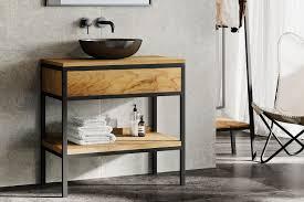 casual waschtischunterschrank aus teak metall schwarz spa ambiente