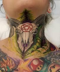 Crazy BioMech RamSkull Neck Tattoo By Shanebakertattoo