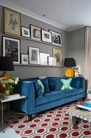 London Wall Paint Living Room Transitional With Blue Sofa