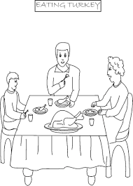 Eating Turkey Printable Coloring Page