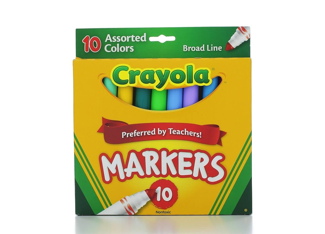 Crayola Broad Line Markers - Assorted Colours, x10