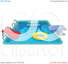 Clipart Of A Swimming Pool With Ladder Slide Diving Board And Inner Tube
