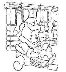 Winnie The Pooh Colouring Pages For Children Christmas Coloring Page