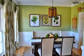 Alluring Green Dining Room With White Chair Rail And Unique Wooden Pendant Light Plus
