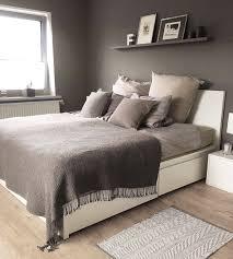 malm bett grey wall cozy bedroom stylish bedroom