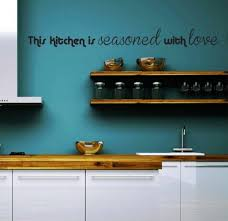 Blue Kitchen Wall Decor With Brown White Wooden Shelf