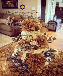 Rustic Ivory And Blue 50th Wedding Anniversary Cake With Burlap Accents Casalatasa