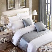 osvino bettläufer jacquard modern luxus glatt dekorative bettdecken für schlafzimmer hotelzimmer grau 240x 50cm für 180cm bett