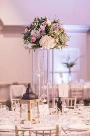 Toronto Wedding Flowers And Decor By Secrets Floral Fresh Tall Centrepiece Arrangement With Cream Hydrangea Purple Lisianthus Greenery