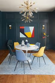 Dark Blue Wood Panel Wall Decorative Pendant Multicolored Abstract Painting Colorful Midcentury Modern Dining Chairs White