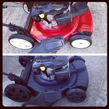 100 White Truck Bed Liner Red Lawn Mower With White Wheels Transformed Into Black On Black In