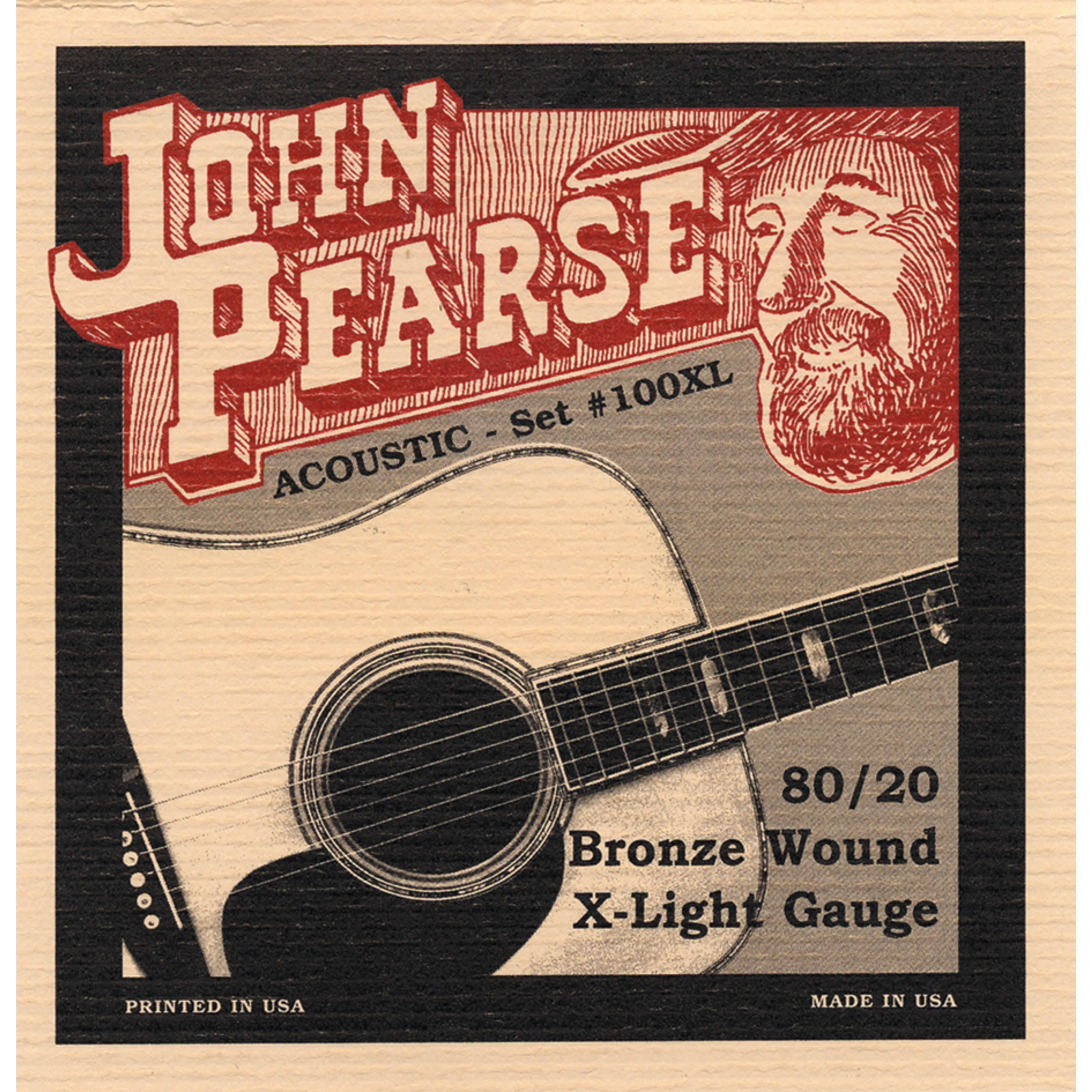 John Pearse 100XL 80/20 Acoustic Guitar Strings - Bronze Wood, Extra Light Gauge