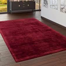 wohnzimmer teppich kurzflor teppich handgearbeitet einfarbig in rot grösse 200x300 cm