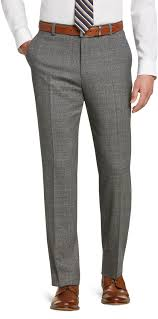 1905 Collection Tailored Fit Flat Front Windowpane Plaid Dress Pants