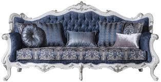 casa padrino luxus barock wohnzimmer sofa mit muster und dekorativen kissen blau weiß silber 240 x 90 x h 120 cm prunkvolle barock möbel