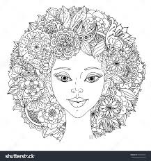 Beautiful Fashion Women With Abstract Hair And Floral Design Elements Could Be Used For Coloring Book