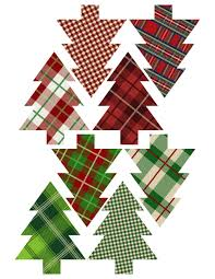 Plaid Christmas Tree Ornaments Printable Easy Ornament Craft DIY Set Of Trees