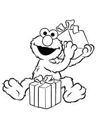 Click To See Printable Version Of Elmo Opening Birthday Presents Coloring Page